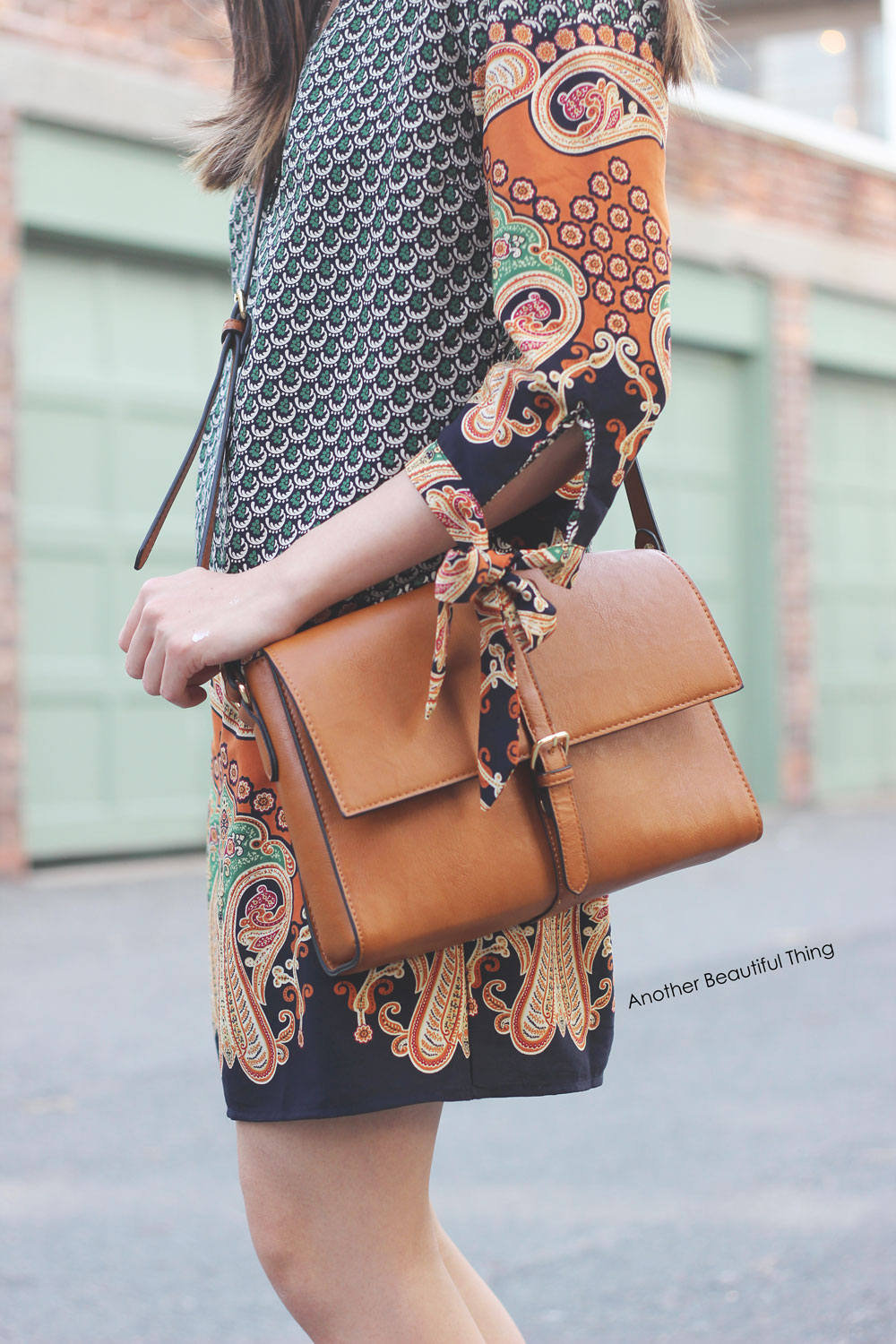 Forever 21 brown flap satchel