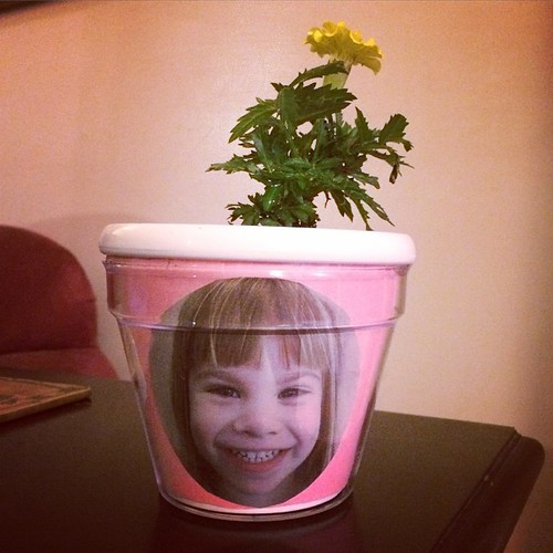 Kudos to Lucy's daycare teacher: Mother's Day flower pot with my crazy girl's face on it.