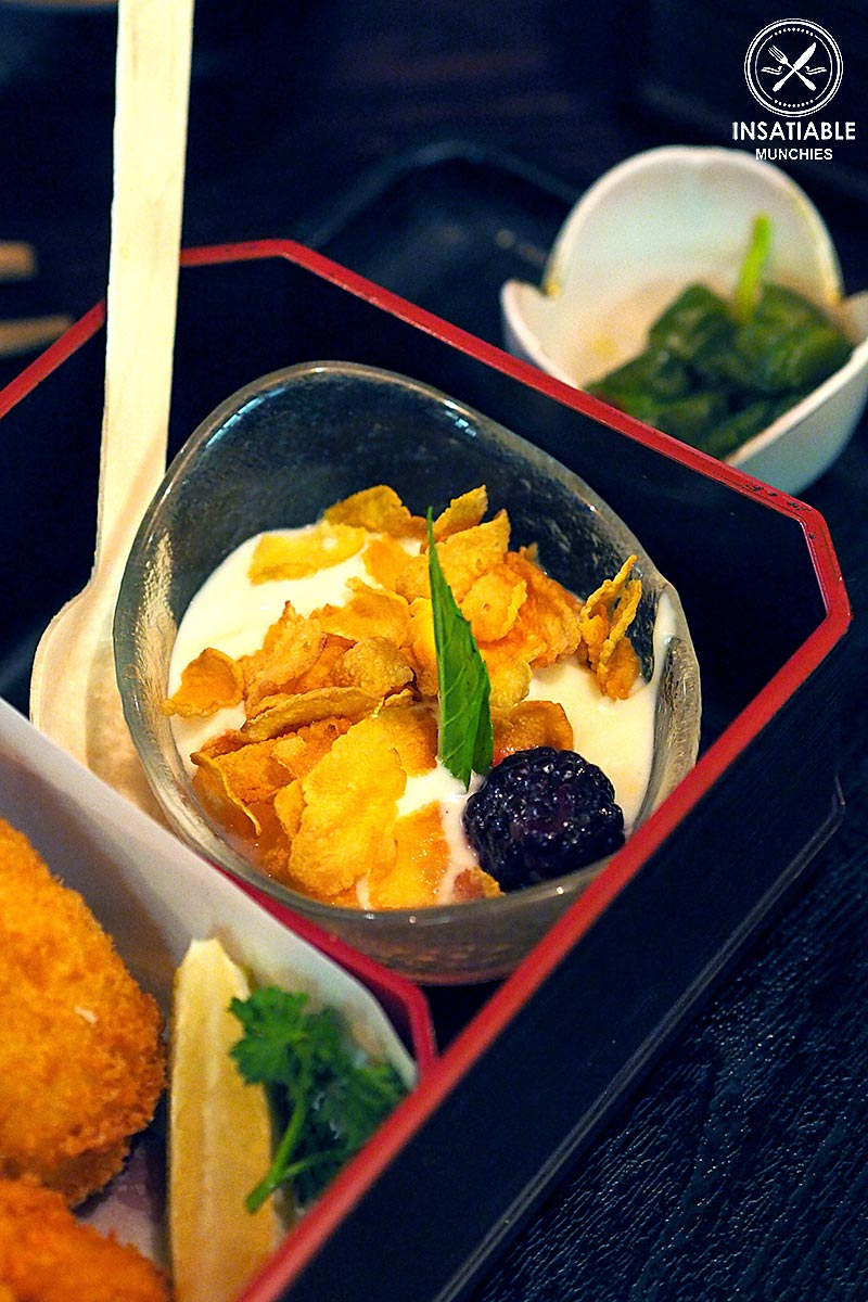 Restaurant Review: Yebisu Izakaya, Sydney CBD. Coconut jelly, cereal and yoghurt (part of Hokkaido Gozen Bento)