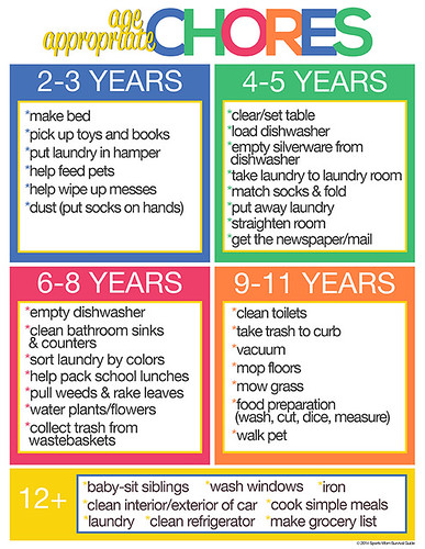 Age Appropriate Chores (Image from Sports Mom Survival Guide)