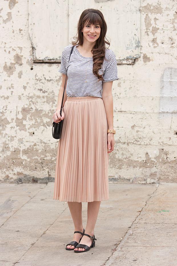 Blush Pleated Skirt, Striped Tee