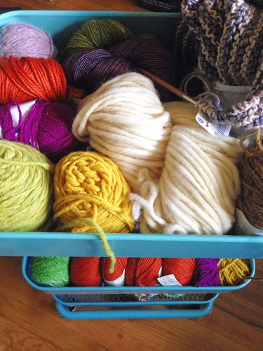 yarn in my new Ikea cart thing