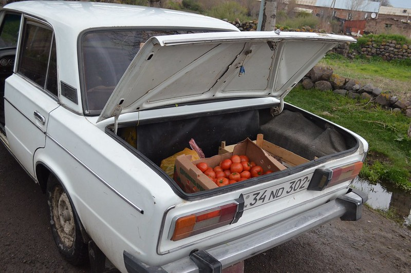 Riding supermarket with vegetables in Armenia