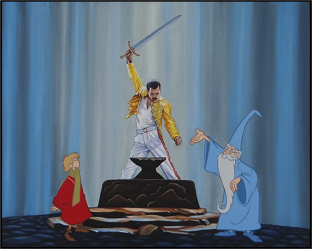 Disenchanted Disney by Rodolfo Loaiza Ontiveros - Born to be Queen - Sword in the Stone vs Freddie Mercury