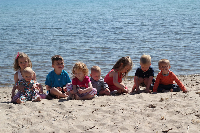 all kids on beach
