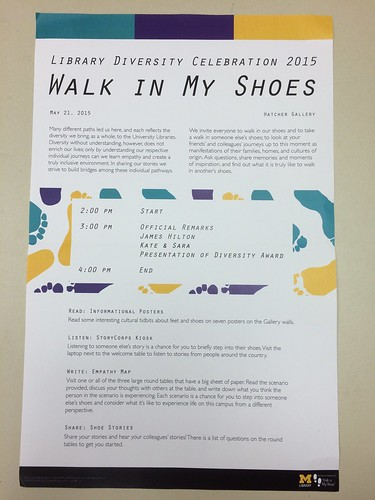 Library Diversity Celebration: Walk in my shoes.