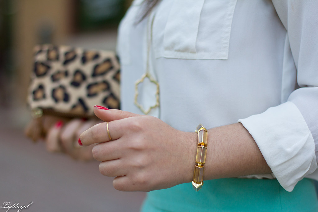 mint green pencil skirt, white blouse, leopard clutch-7.jpg