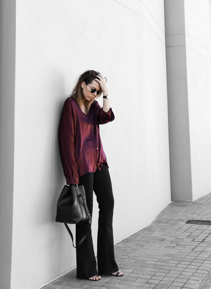 modern legacy, fashion blog, street style, flares, bucket bag, Proenza Schouler mules, burgundy shirt (1 of 1)