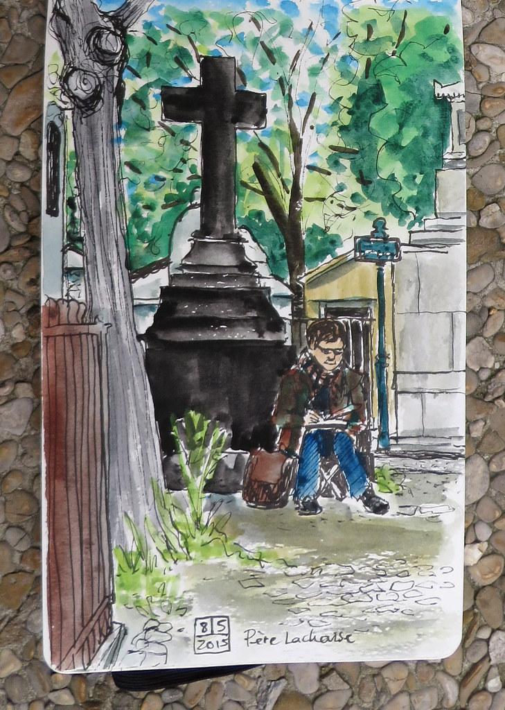 2015_05_08_Père Lachaise Cemetery sketcher