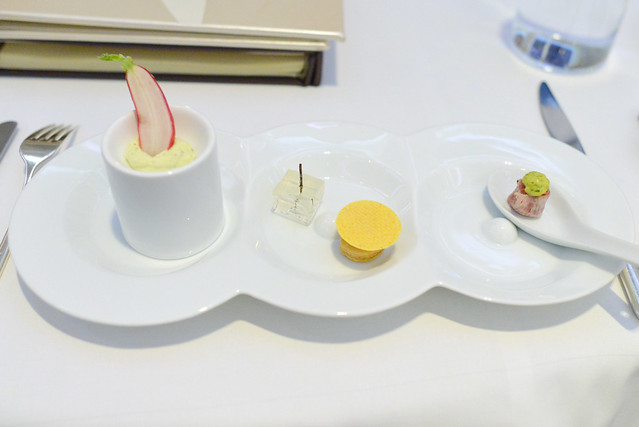 french radish; goat cheese tart with gin martini gelee; american wagyu tartare with mustard