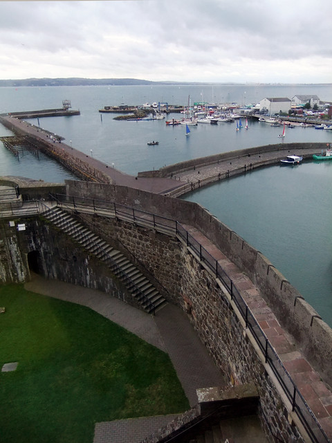 A view of the harbour from the medieval castle of Carrickfergus along the Coastal Causeway Route of Ireland, UK