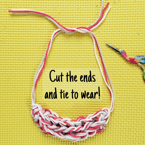 Five Minute Finger-knitting Necklace tutorial on Crafts from the Cwtch blog