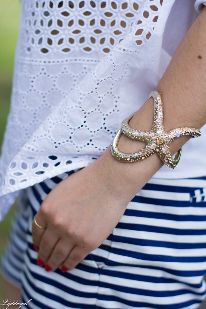 white eyelet shirt, striped shorts, starfish cuff, floppy hat-10.jpg