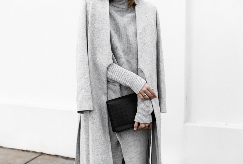 modern legacy, fashion blog, grey street style, minimal, grey coat, knit, Anine Bing clutch (1 of 1)
