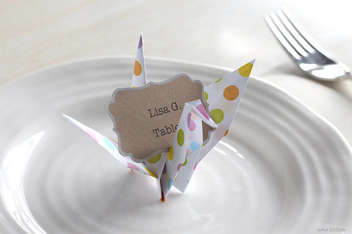Origami Crane Table Card from NANA ZOOLAN