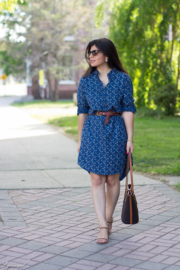 dragonfly print shirtdress, leather tote, sandals-1.jpg