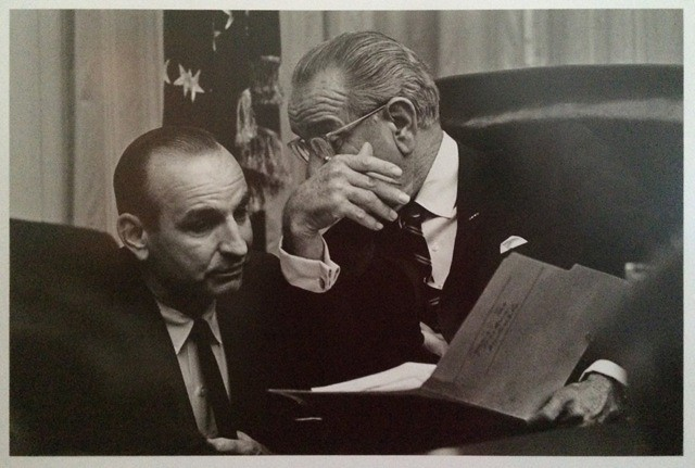 Dr. Charles Zwick meets with President Lyndon B. Johnson during his time as Director of the U.S. Bureau of the Budget from 1968-1969.