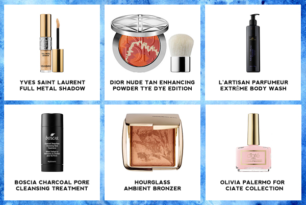 Yves Saint Laurent Full Metal Shadow, Diorskin Nude Tan Healthy Glow Enhancing Powder Tye Dye Edition, Boscia Charcoal Deep-Pore Cleansing Stick Treatment, Hourglass Ambient Bronzer, Olivia Palermo for Ciaté London Nail Collection
