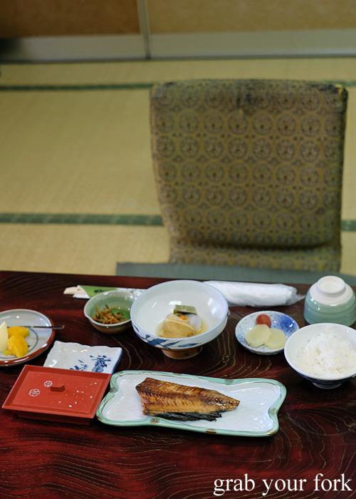 Japanese breakfast at Nakayasu Ryokan, Kanazawa
