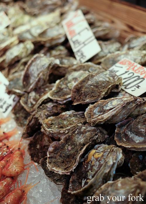 Giant oysters at Omicho Market, Kanazawa, Japan