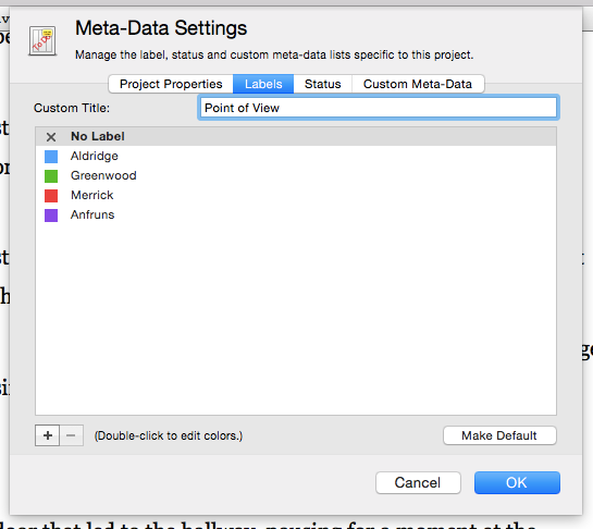 Scrivener meta-data settings sheet