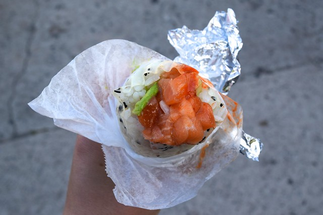 Spicy Salmon Burrito at First Friday's in Abbot Kinney Boulevard