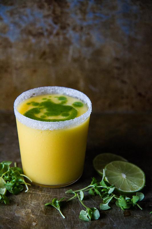 Frozen Mango Basil Margaritas