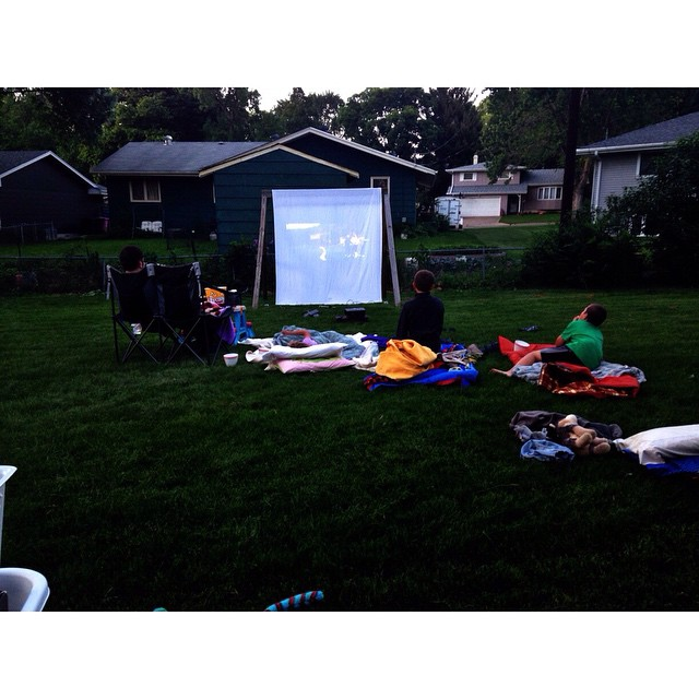 Our first time doing a movie outside in our own yard! #goonies #summer2015