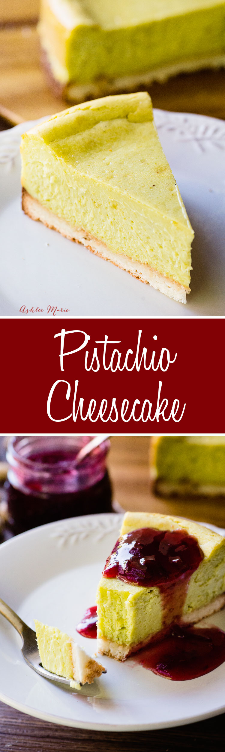 a from scratch pistachio cheesecake made with real pistachios and made with a coconut macaroon crust
