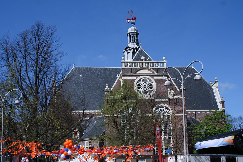 Kings Day Amsterdam church Dutch flag