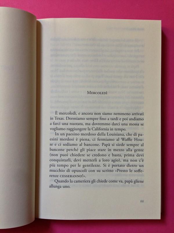 Last days of California, di Mary Miller. ClichY 2015. Progetto grafico e illustrazioni di Raffaele Anello. Incipit, a pag. 11 (part.), 1
