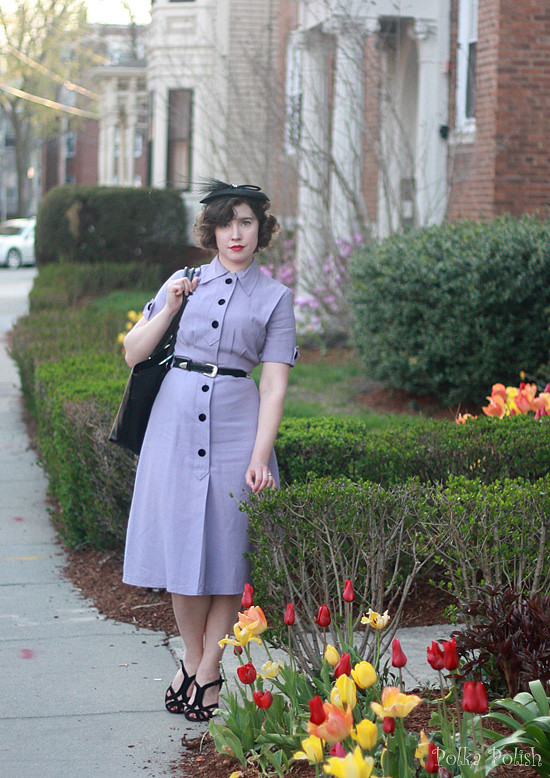 Purple vintage dress with black velvet buttons