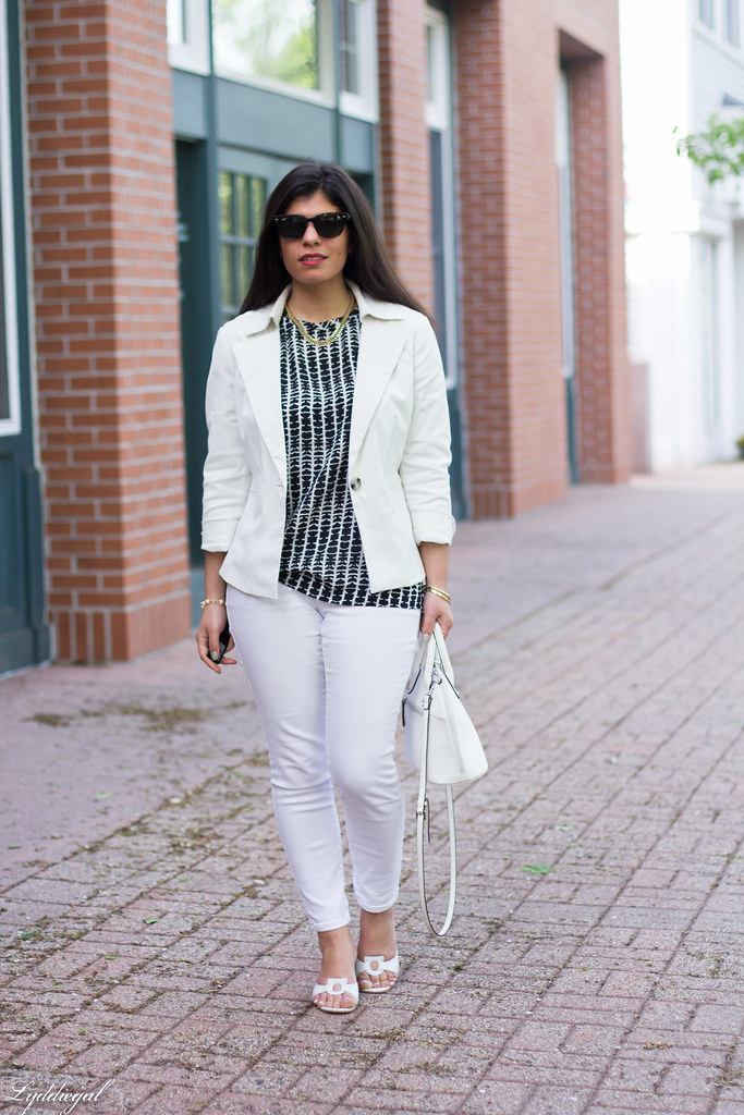 white jeans, white blazer, black and white blouse.jpg