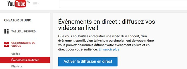 diffusion en direct youtube