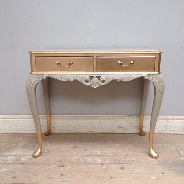 ... French Grey U0026 Gold / Antique Console Table / Trying Something New / # Painted #
