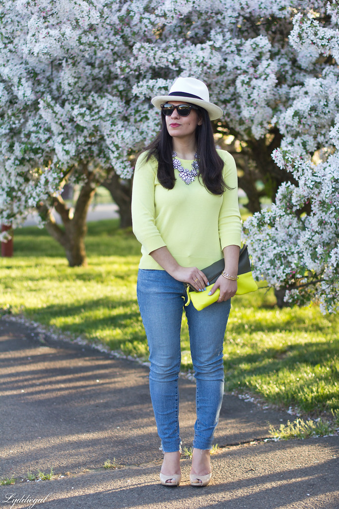 yellow sweater, denim, nude pumps, panama hat-1.jpg