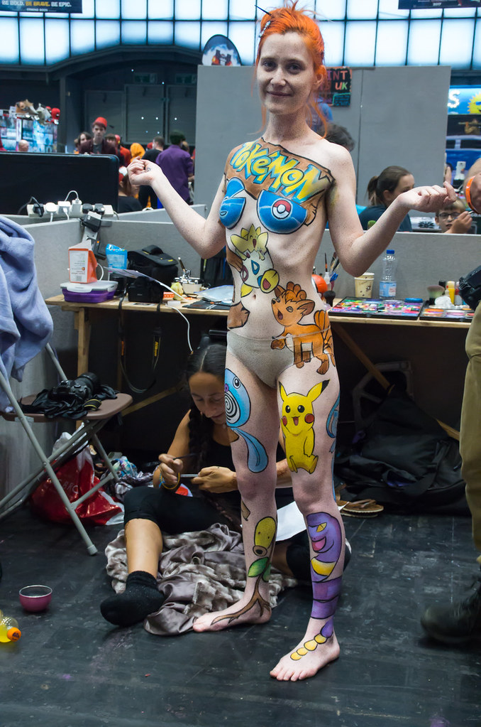 Pokemon body paint imgp7549 1 manchester comic con for Comic con body paint