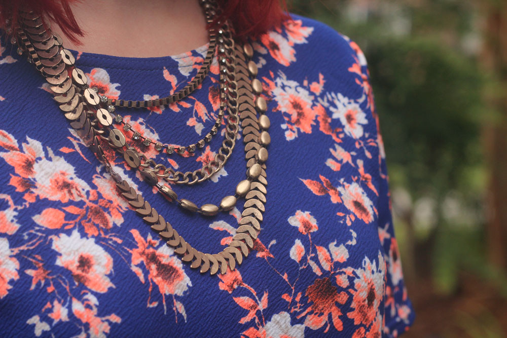 Bronze Layered Necklace from Forever 21 with Floral Print