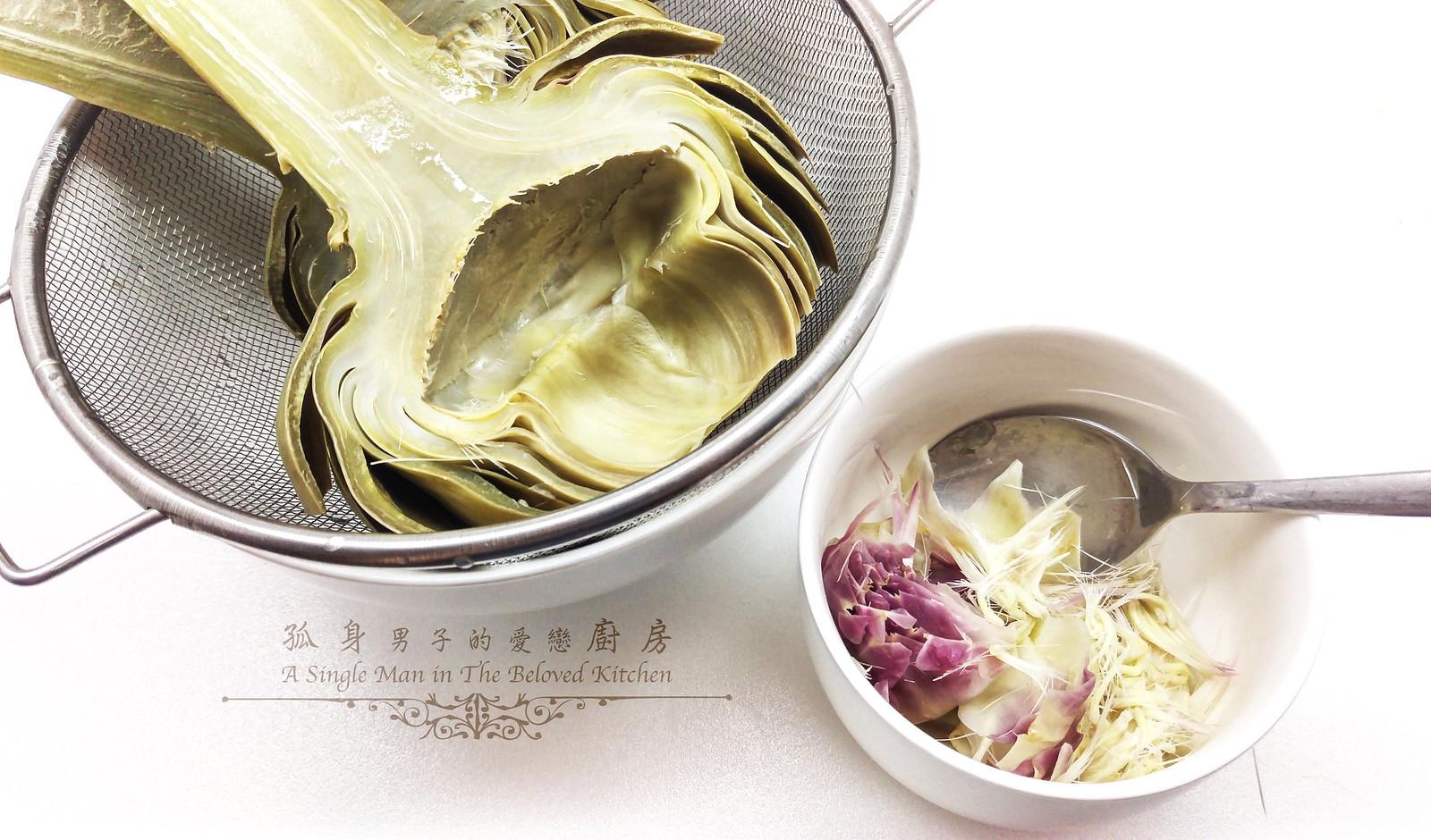 孤身廚房-青醬帕瑪森起司鑲烤朝鮮薊佐簡易油醋蘿蔓沙拉11