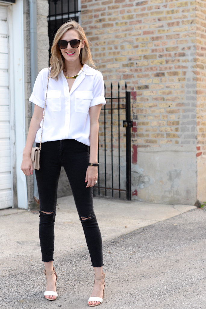black and white spring outfit, ripped jeans, white blouse