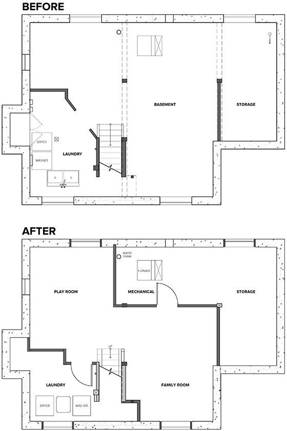 Basement Before and After