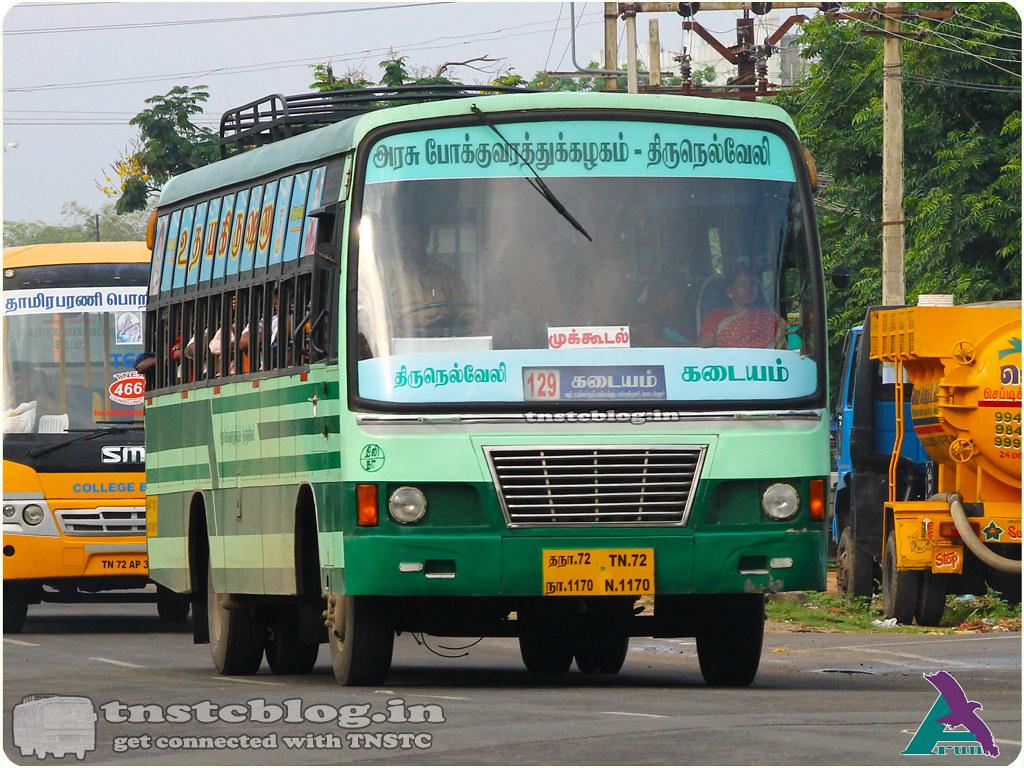 TN-72N-1170 of Tamarabarani Depot Route 129 Tiruneveli - Kadayam via Nellai Town, Pettai, Mukkudal, Pottalputhur.