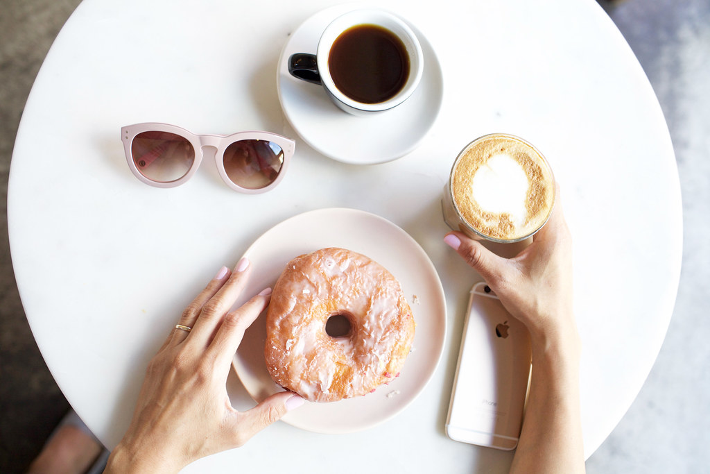 NYC Coffee Break at Happy Bones in Denim Dress on Corporate Catwalk in Summer