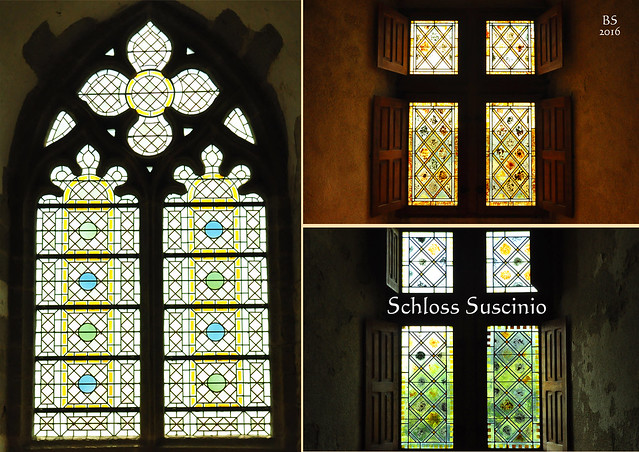Bretagne 2016 - Schloss Suscinio - Besichtigung der Innenräume - Fenster - Bodenfliesen - Teppiche - Bilder - Möbel ... Fotos und Fotocollagen: Brigitte Stolle 2016