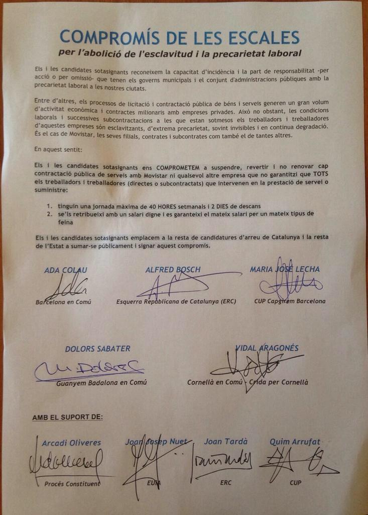 Document compromís de les escales per l abolició de l´esclavitud i la precarietat laboral