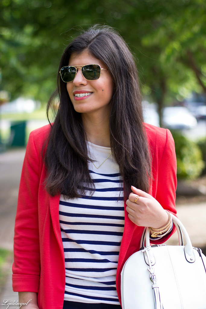 red blazer, striped shirt, navy trousers, white bag-4.jpg