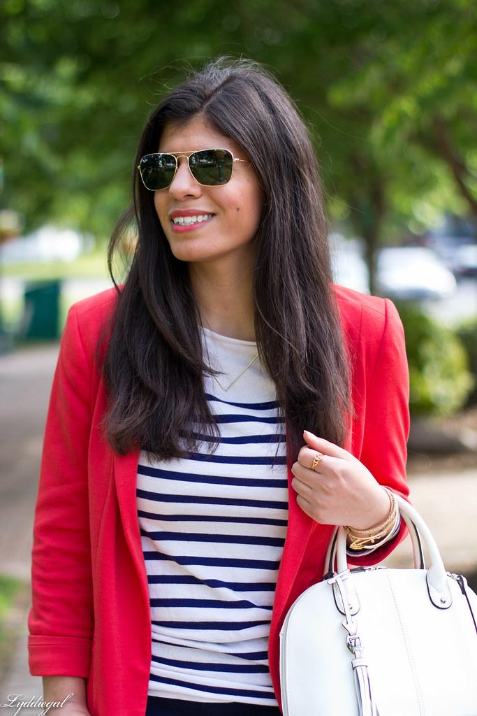 red blazer, striped shirt, navy trousers, white bag-4.jpg