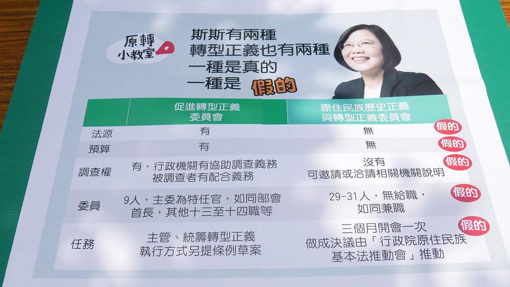 原民團體質疑民進黨對於轉型正義有差別待遇。(攝影:李昭妟)