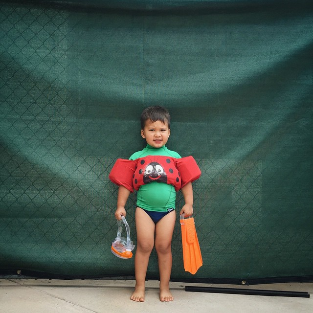 Speedos (because his mama can't find his swim trunks), one orange flipper and storm clouds in the sky. Luka doesn't give a 💩. Let's go swimming!!! #ohlukadoesntgiveashit by malimish_marlene