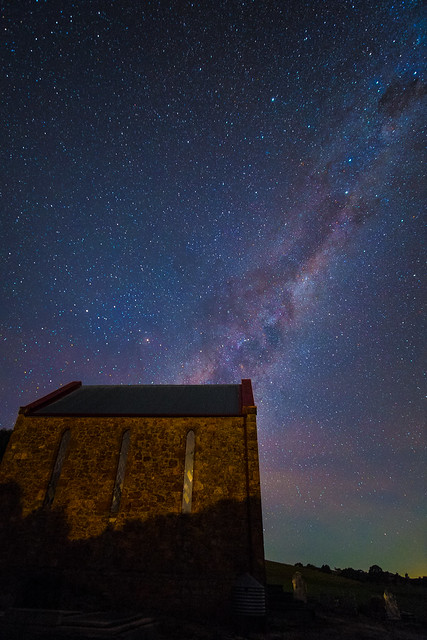 Woolshed Flat Church under the Milky Way